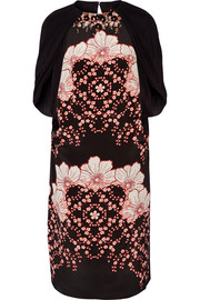 Lasla embellished printed silk-satin and crepe de chine dress