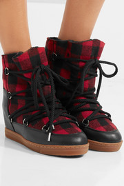 Isabel Marant Nowles shearling-lined leather-trimmed plaid wool boots