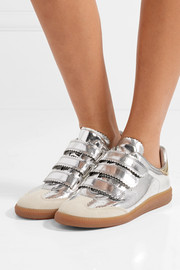 Isabel Marant Beth suede-trimmed metallic leather sneakers