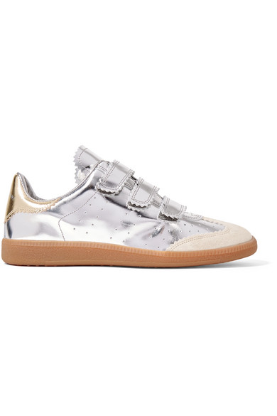 4e6dfc20bf Isabel Marant | Beth suede-trimmed metallic leather sneakers | NET-A ...