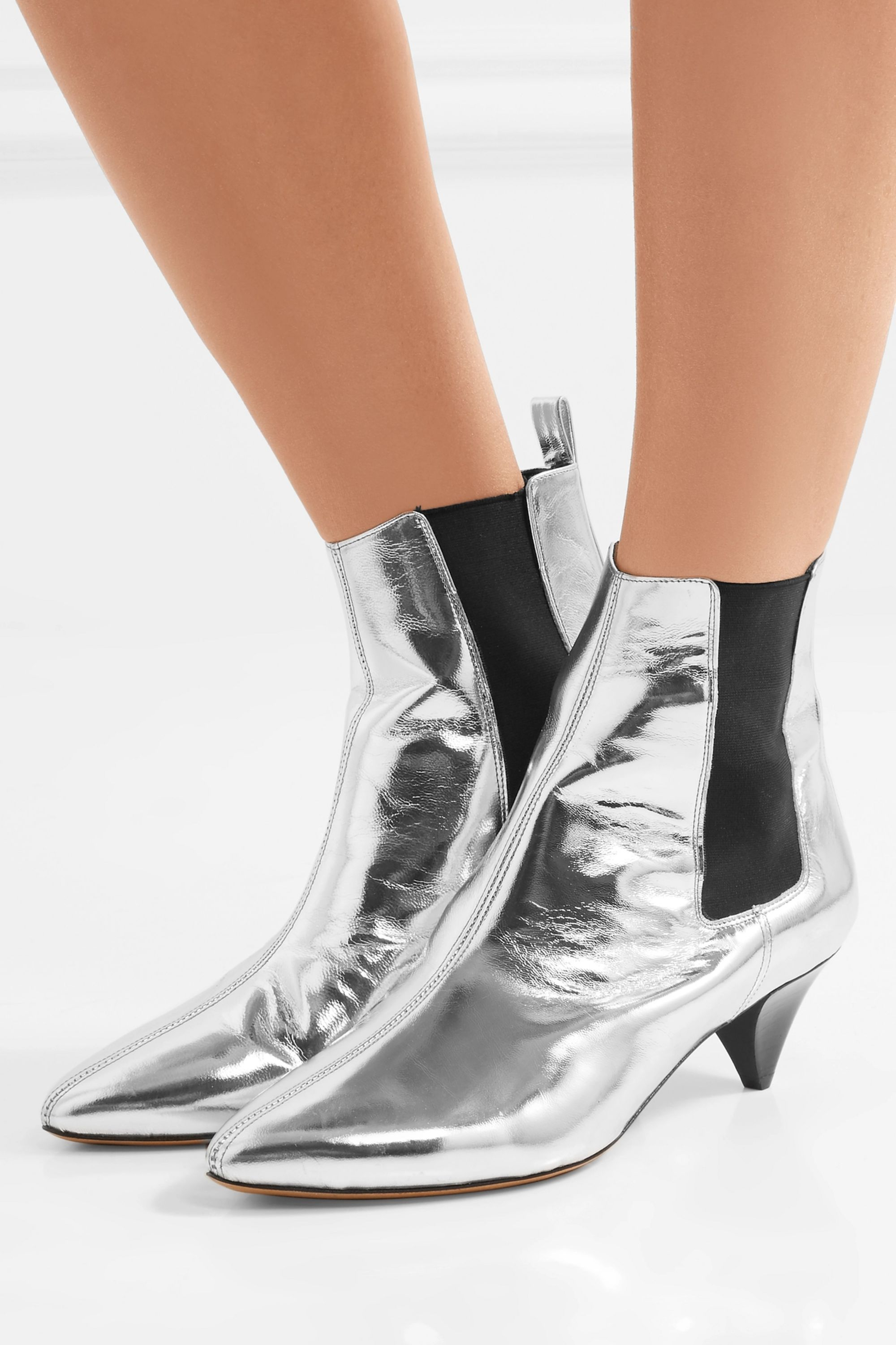 Isabel Marant Dawell metallic leather ankle boots