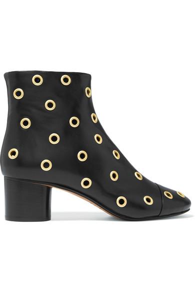 Danay Eyelet Embellished Leather Ankle Boots by Isabel Marant
