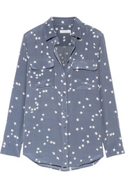 Slim Signature printed washed-silk shirt