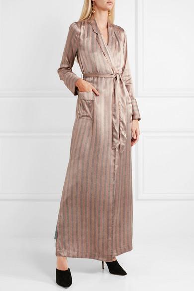 Silk Robe Striped Satin Florian 8wn0kOP
