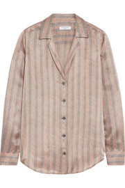 Adalyn metallic striped silk-satin shirt