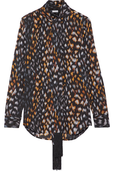 Equipment - Essential Pussy-bow Leopard-print Silk-georgette Blouse - Leopard print