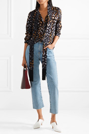 Equipment Essential pussy-bow leopard-print silk-georgette blouse
