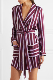 Ritz appliquéd striped satin robe
