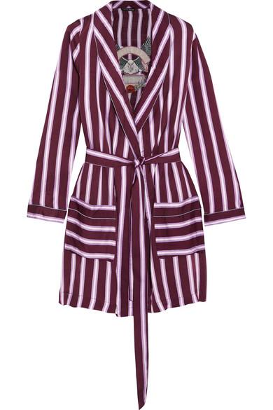 Love Stories - Ritz Appliquéd Striped Satin Robe - Plum