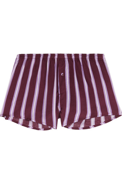 Love Stories - Sunday Striped Satin Pajama Shorts - Plum