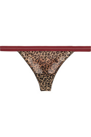 Room Service leopard-print tulle and lace thong