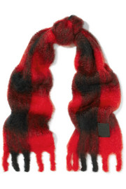 Plaid mohair and wool-blend scarf
