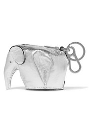 Elephant metallic leather keychain