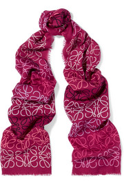 Loewe Printed wool, silk and cashmere-blend scarf