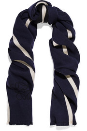 Loewe Anagram reversible striped wool and silk-blend scarf