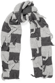 Embellished checked wool-blend scarf