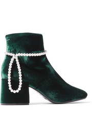 Faux pearl-embellished velvet ankle boots