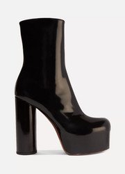 Patent-leather platform ankle boots