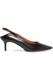 Collapsible-heel leather slingback pumps
