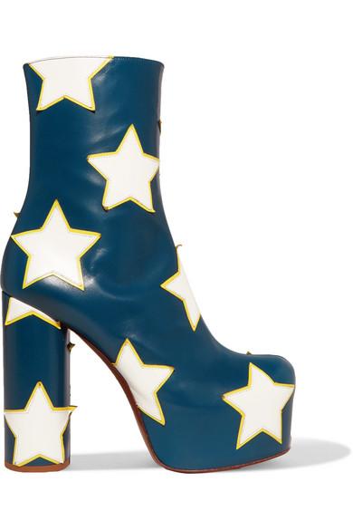 Vetements - Appliquéd Leather Platform Ankle Boots - Navy