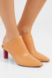 Glossed-leather mules