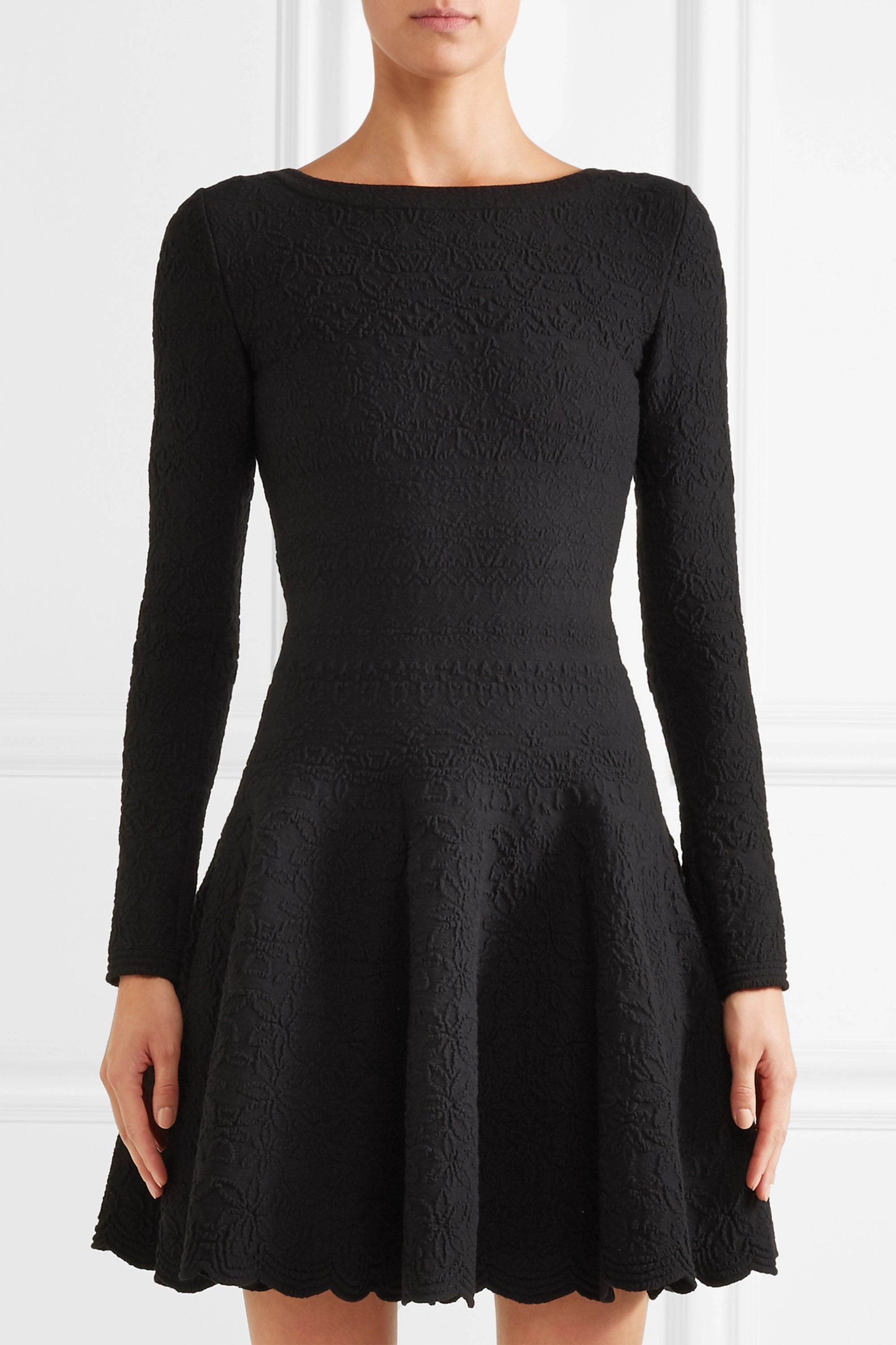 Alaïa Wool-blend jacquard mini dress