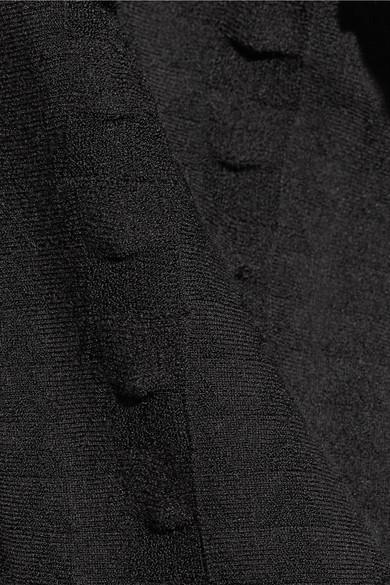 Alaïa Midikleid aus Jacquard-Strick mit Wellenkanten