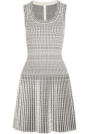 Alaïa Pleated jacquard-knit wool-blend mini dress