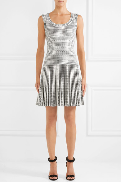 Alaïa Minikleid Fold Of Jacquard Knitting Of A Wool Blend With