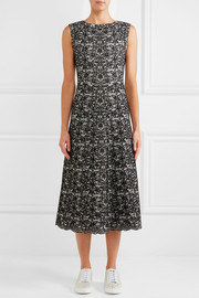 Two-tone jacquard-knit wool-blend midi dress