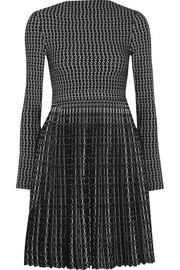 Pleated jacquard-knit wool-blend mini dress