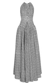 Alaïa Open-back flocked wool-blend halterneck gown