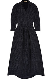 Alaïa Flocked wool-blend midi dress