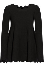 Alaïa Scalloped jacquard-knit wool-blend top