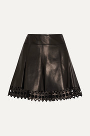 Laser-cut leather mini skirt