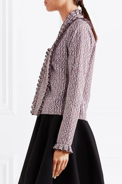 Alaïa Bluse aus bedruckter Baumwollpopeline mit Rüschen