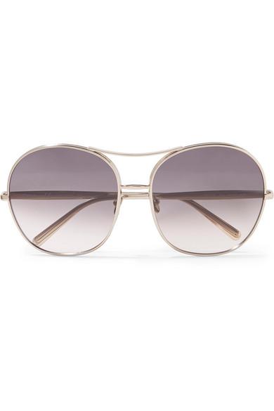 Nola Oversized Square-Frame Gold-Tone Sunglasses
