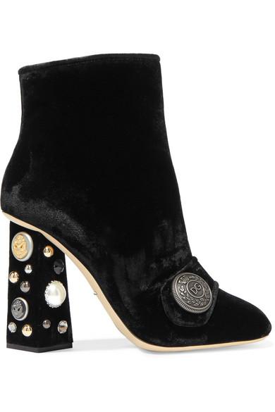Dolce & Gabbana - Embellished Velvet Ankle Boots - Black