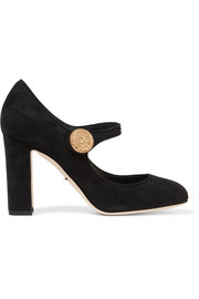 Embellished suede Mary Jane pumps