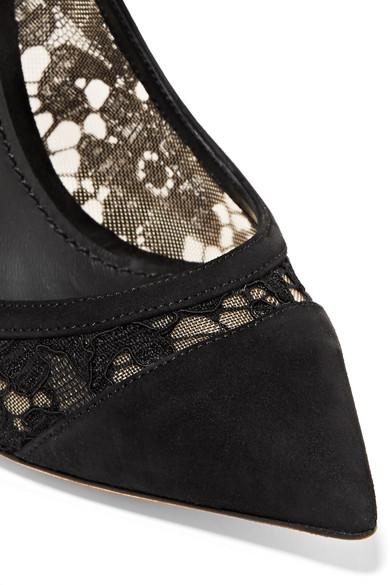 Dolce & und Gabbana   Pumps aus schnurgebundener Spitze und & Mesh mit Velourslederbesatz d4c097
