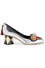 Dolce & Gabbana Embellished appliquéd mirrored-leather pumps