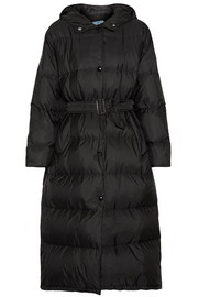 Prada Hooded quilted shell coat
