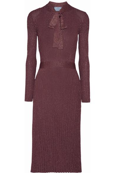 Prada - Pussy-bow Metallic Ribbed-knit Midi Dress - Grape