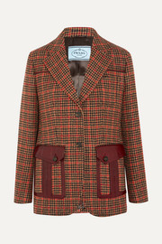 Leather-trimmed checked wool-blend tweed blazer