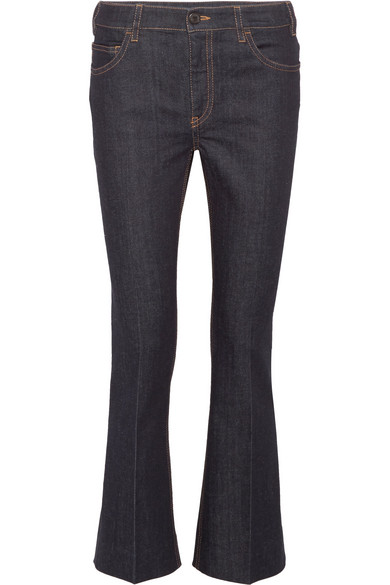 Prada - Cropped High-rise Flared Jeans - Dark denim at NET-A-PORTER