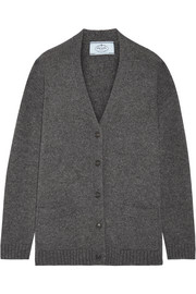 Prada Suede-trimmed wool and cashmere-blend cardigan