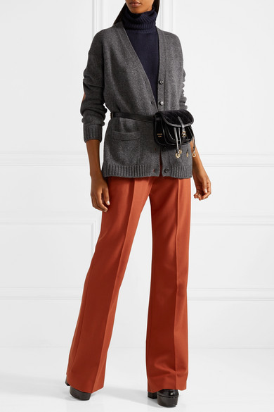 Prada Cardigan aus einer Woll-Kaschmirmischung mit Velourslederbesatz Billig Verkauf Footlocker Bilder hwNzKohN