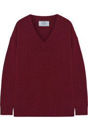 Oversized suede-trimmed wool and cashmere-blend sweater