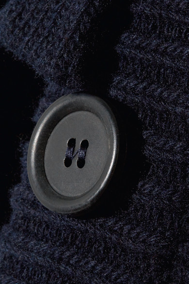 Prada Gerippter Cardigan aus einer Woll-Kaschmirmischung mit Lederbesätzen
