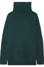 Suede-trimmed wool and cashmere-blend turtleneck sweater